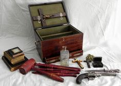 Vampire killing kit from the 19th century to be auctioned off this weekend. Dagger, Bibles, Revolver, Silver Bullets, Crosses, Holy Water Containers, Stakes, etc.