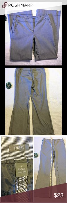 Wide leg trousers Nice pinstriped fabric in dark navy. Slash front pockets. Gently worn but practically new. Kenneth Cole Reaction Pants