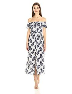 Lucca Couture Women's Off Shoulder Pineapple Print Button up Maxi Dress - http://www.darrenblogs.com/2017/02/lucca-couture-womens-off-shoulder-pineapple-print-button-up-maxi-dress/
