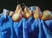Pears and Pewter Cups by Chris Krupinski Watercolor ~ 22 x 30