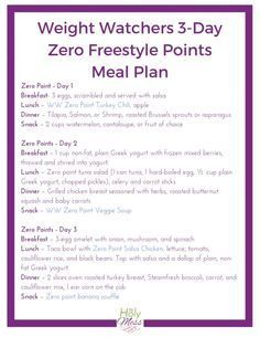 Diet Meals 3 Day Zero Point Meal Plan - Use this Weight Watchers 3 Day Zero Point Meal Plan for when you want to jump start your weight loss by eating only zero point foods. Plats Weight Watchers, Weight Watchers Meal Plans, Weight Watchers Smart Points, Weight Watchers Free, Weight Loss Meals, Weight Loss Challenge, Weight Watchers Program, Weight Watchers Lunches, Weight Watcher Dinners