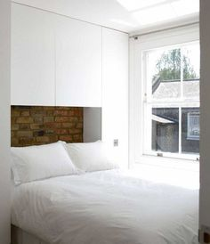 How to creat storage in a small double bedroom. Building wardrobes around the bed but using a neutral col How to creat storage in a small double bedroom. Building wardrobes around the bed but using a neutral colour scheme Small Double Bedroom, Small Master Bedroom, Small Rooms, Small Apartments, Home Bedroom, Small Spaces, Bedroom Decor, Bedroom Ideas, Wardrobe Small Bedroom