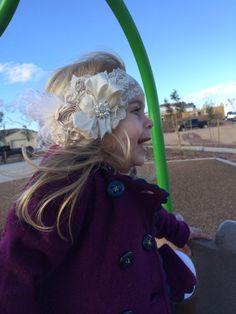 Sea shells and Sandcastles Headband.Couture Headband.Baby Girl Headband.Cream and Tan Headband.Wedding Hair Piece.Fascinator.Baby Headbands