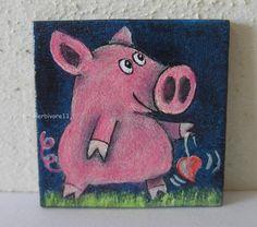 PERSÖNLICHES GLÜCKSSCHWEIN Nr. 9 von Herbivore11 Schwein Glück Inchie Comic Herz