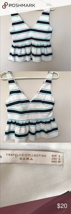 Zara striped peplum crop top small Crop peplum top. In excellent used condition. Perfect for summer Zara Tops Blouses