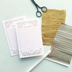 gold foil notepad