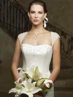 Conservative Mermaid Cap Style Sleeve Strapless Embroider Satin Sweep Train Wedding Dress