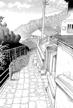 coloring for adults - kleuren voor volwassenen Landscape Drawings, Landscape Art, Drawing Sketches, Art Drawings, Japon Illustration, Arte Sketchbook, Perspective Drawing, Urban Sketching, Ink Art