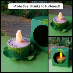 LED Tea Light Cake #happybirthday #papercraft http://www.templateofabox.com/printable-cube-box-template/ http://www.thehybridchick.com/2011/05/tealight-candle-cake/
