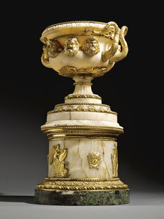 An Italian gilt-bronze and verde-antico marble mounted alabaster Warwick vase by Francesco and Luigi Righetti Rome, late 18th Century / early 19th Century