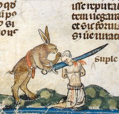 the Easter Hare hates you  'The Smithfield Decretals' (Decretals of Gregory IX with glossa ordinaria), Tolouse ca. 1300, illuminations added in London ca. 1340  British Library, Royal 10 E IV, fol. 61v