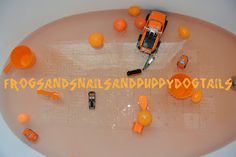 Frogs and Snails and Puppy Dog Tails: The color orange bath theme