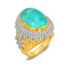 Victor Velyan 14.8ct Paraiba tourmaline ring in yellow gold ($93,000).