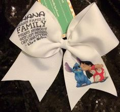 Ohana means family,family means nobody gets left behind or forgotten- lilo and stitch cheer bow Cute Cheer Bows, Cheer Mom, Big Bows, Cheerleading Hair Bows, Softball Bows, Cheerleading Stunting, Cheer Pictures, Cheer Pics, Dance Bows