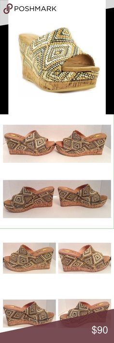 Very Volatile Jenny Woven Wedge Sandal Very Volatile Jenny natural multi color woven slip on wedge sandal.  Size 8 medium.  New with tags.  Open toe.  Woven top strap.  Open back.  Contrast detail wedge.  No trades. Volatile Shoes Sandals