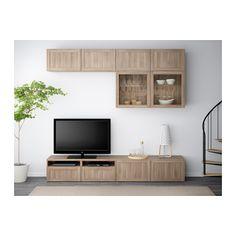 BESTÅ Combinazione TV/ante a vetro - Hanviken/Sindvik vetro effetto noce mordente grigio, guida cassetto/apertura a pressione - IKEA