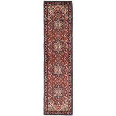 Ecarpetgallery Dark Red/Multicolor Wool Royal Heriz Geometric-pattern Hand-knotted Runner Rug