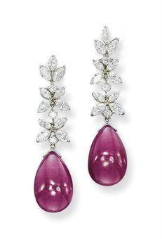 Ruby and Diamond Ear Pendants