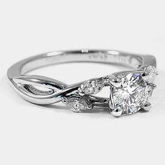 Platinum Willow Diamond Ring // Set with a 0.45 Carat, Round, Super Ideal Cut, H Color, VS1 Clarity Lab Diamond #BrilliantEarth