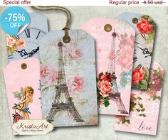 75% OFF SALE Love Tags  Digital Collage Sheet by KristieArtDesign