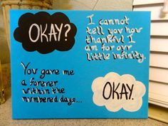 The Fault in Our Stars Canvas Painting by SabbyWear on Etsy, $12.00                                                                            I adore this book!