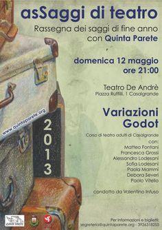 DOMENICA 12 Maggio ore 21.00  Teatro de Andrè #Casalgrande #RE asSaggio  corso teatro adulti