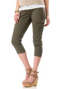 Motherhood Maternity: Dollhouse Secret Fit Belly(tm) Twill Cargo Pockets Skinny Leg Maternity Crop Pants