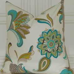 Etsy on pillows.TEAL TURQUOISE TAN. Decorative Floral 18x18 Home Decor Accent Toss Pillow Cover