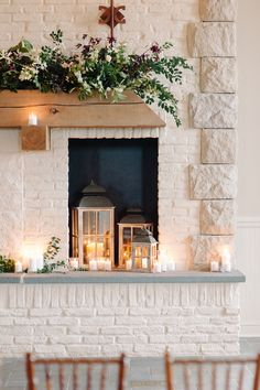 Love the lanterns and candles.  We'll also be doing a garland on the mantle.  Some color in the mantle garland like this might be nice :)