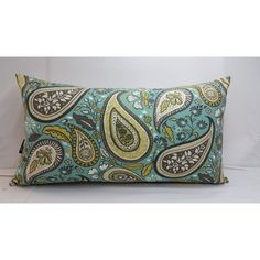 Robert Allen Crypton Pillow 24 X 14 Paisley Teal Mustard Yellow Taupe... ($60) ❤ liked on Polyvore featuring home, home decor, throw pillows, decorative pillows, grey, home & living, home décor, teal accent pillows, mustard throw pillow and grey accent pillows