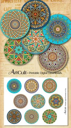 Printable Obtain ORIENTAL MANDALAS inch measurement photos Digital Collage Sheet for Pocket Mirrors, Magnets, Paperweights, Cupcake toppers Cd Crafts, Arts And Crafts Projects, Diy Crafts To Sell, Paper Crafts, Carta Collage, Collage Sheet, Collage Collage, Dot Art Painting, Mandala Painting