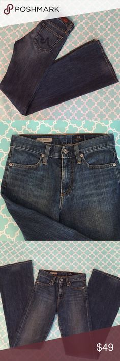 """AG Adriano Goldschmied Farrah 70s Bell Bottom super soft and comfy with a fun boho vibe! """"the Farrah"""" Jean - the 70s bell bottom Jean in a medium wash with light whiskering at thighs. 94% cotton 4% poly 2% spandex. size 25. waist flat is approx 13"""", front rise is 9.25"""", inseam is approx. 35"""". very good pre-loved condition. AG Adriano Goldschmied Jeans Flare & Wide Leg"""