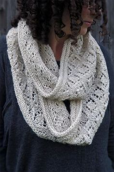 Free until January 2019 Knitting Pattern for Queen Mab Cowl - Lace infinity . Free until January 2019 Knitting Pattern for Queen Mab Cowl - Lace infinity scarf knit in the round. Snood Knitting Pattern, Infinity Scarf Knitting Pattern, Knit Cowl, Lace Knitting, Knitting Socks, Knitting Patterns Free, Knitting Machine, Knitting Ideas, Free Pattern