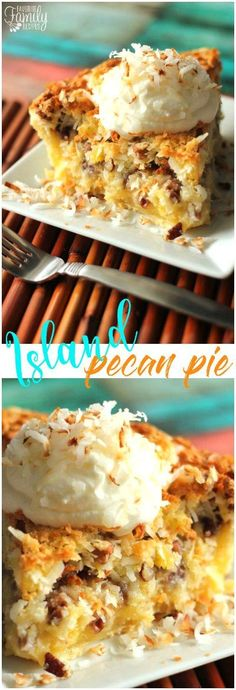This Island Pecan Pie recipe comes from a famous pie diner in Arkansas. It is loaded with pineapple, coconut, and pecans in a delicious creamy filling. #pecanpierecipe #islandpecanpie