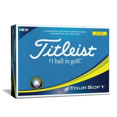 Titleist Tour Soft Golf Balls, Yellow (One Dozen) Through technology and process innovations, Titleist has developed the new Tour soft golf ball. It delivers Golfball, Golf Sport, New Golf Clubs, Golf Mk2, Star Tours, Club Face, What In My Bag, Free Advice, Mens Gloves