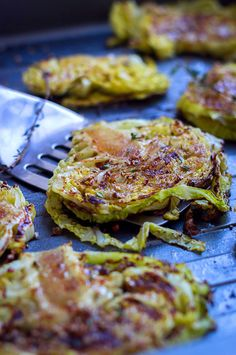 I made these as part of a veggie tray for Super Bowl.  Fantastic!!! Make these Roasted Balsamic Cabbage Steaks for a wonderful side everyone will go crazy for! eatwell101.com