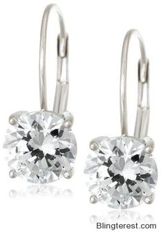 #Platinum Plated #Sterling #Silver Round-Cut Cubic Zirconia Lever Back #Earrings (2 cttw) #Jewelry http://blingterest.com/earrings/drop-dangle-earrings/platinum-plated-sterling-silver-round-cut-cubic-zirconia-lever-back-earrings-2-cttw-jewelry/