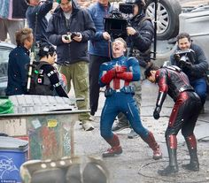 Boys will be boys! Robert Downey Jr, Chris Evans, Paul Rudd, and Mark Ruffalo were spotted on the Atlanta, Georgia set of The Avengers 4 on Wednesday morning