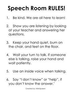 The simple rules I have posted for my speech therapy room ...