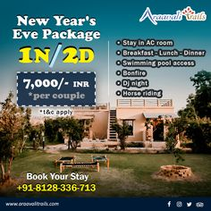 Make your New Year's Eve happening and exciting with an amazing budget package for 1 night and 2 days in Palanpur with Araavali Trails. New Year Packages, Adventure Resort, Hotel Packages, 1st Night, Best Resorts, Travel Design, Horse Riding, Hotel Offers, Swimming Pools