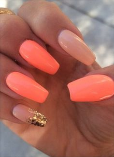 neon #coral #nude nails with ombre glitter tip on the pinky. #nailart Ashley Bias