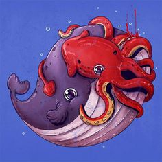 Adorable Circle Of Life - Alex Solis Creepy Animals, Cute Animals, Creative Illustration, Cute Illustration, Octopus Art, Creepy Art, Circle Of Life, Art Plastique, Illustrations
