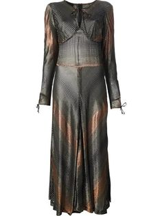 Multicolour lurex striped maxi dress from Biba featuring a round neck, a tied neckline, a slit at the chest, a fitted waist, long sleeves, tie cuffs and a rear zip fastening.