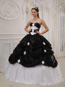 Top Black Taffeta and White Organza Sweetheart Quinceanera Dress with Pick-ups