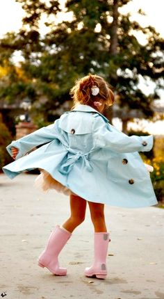 My daughter, I can already see it, adorable trench with pink rain boots, what other color would they be for a little princess?