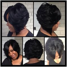 feathered bob hair cut for black woman - Google Search