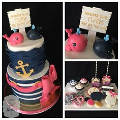 Navy blue and pink nautical themed baby shower for twins...girl and boy! Cake…
