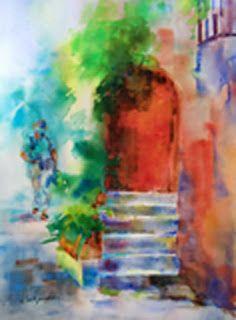 "Watercolor Artists International - Contemporary Fine Art International: Italian Landscape Painting, Red Doorway Italy, ""A Brisk Walk"" by Georgia Artist Deanna Jaugstetter"