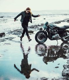 moto_city_journal#Repost @jasonlphotos ・・・ Shooting for @neuwdenim today! But for now here we are having irresponsible fun in the elements with @adventure.machine and @biker_becca.