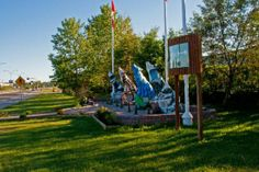 The Spirit Way wolves - can you find them all? Located in Thompson, Manitoba  #wolfcapitaloftheworld